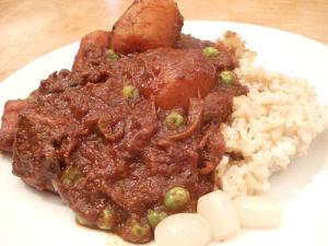 Japanese beef curry with brown rice and rakkyou