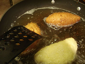Curry Bread - frying