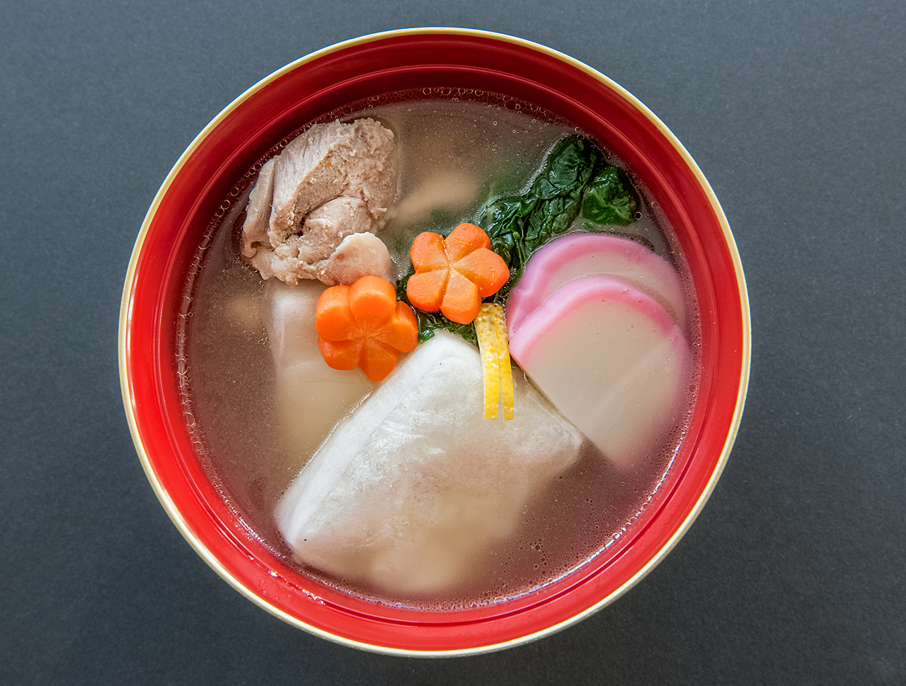 Kanto style ozoni (mochi soup) for New Years