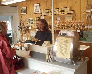 Mueller farm shop interior, with Frau Mueller